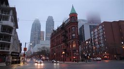The Gooderham Flatiron Building in Toronto financial district on a foggy day Footage
