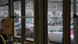 View From Inside Tram Passenger In Warsaw Poland stock footage