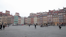 Panoramic view Historic Centre old town of Warsaw, Poland Footage