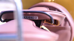 Leather Seats Of A Vespa Motorcycle stock footage