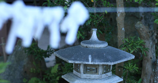 Oracle and lantern at Shirohige shrine in Shiga back rack focus Live Action