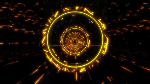 3D Gold Orange Sci-Fi Stargate Tunnel VJ Loop Motion Background Animation