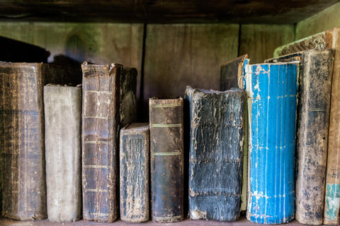 Old books on a bookshelf Photo