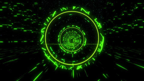 3D Green Sci-Fi Stargate Tunnel VJ Loop Motion Background Animation