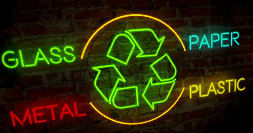 Recycling and ecology symbol neon Animation