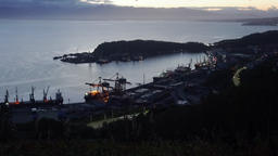 Night view of Seaport of Petropavlovsk Kamchatsky City on shore of Pacific Ocean Footage
