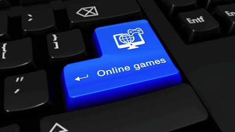 463. Online Games Round Motion On Computer Keyboard Button Live Action