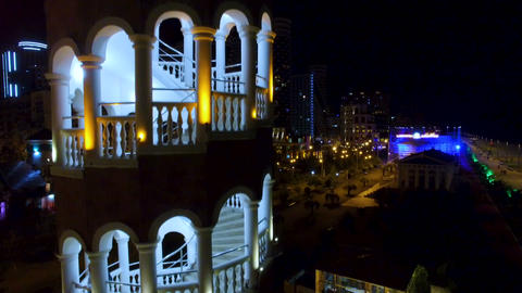 Arched staircase of tower in Batumi Georgia, restaurant and brewery, recreation Live Action
