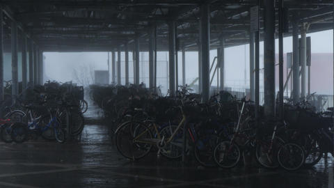 Hurricane Typhoon Mangkhut near bike parking Footage