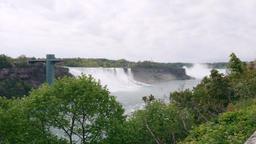 American Falls and Horseshoe Falls Waterfalls at the Niagara River Live Action