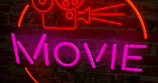Cinema night retro neon Animation