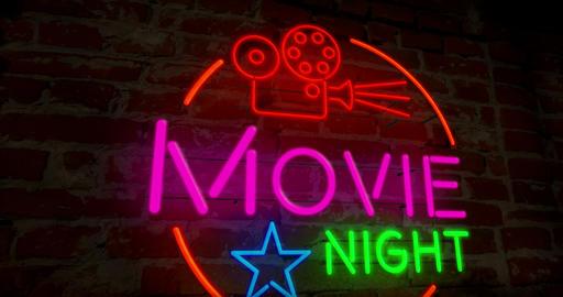 Cinema night retro neon Stock Video Footage