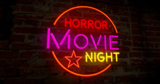 Horror cinema night neon Animation