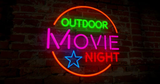 Outdoor cinema night neon Animation