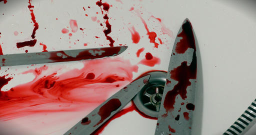 Murder Scene - Three Knives And Blood In The Bathtub Live Action