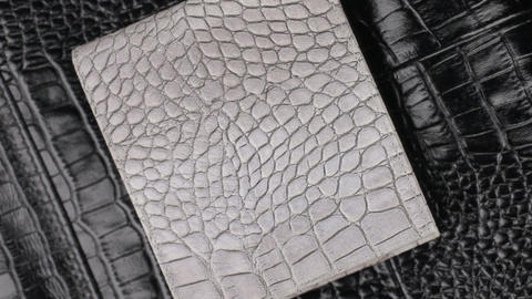 Rotation, two texture crocodile skin, gray leather purse lies on black skin Live Action