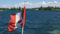 Canadian Flag on Georgian Bay Footage