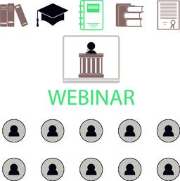 Webinar online conference lectures and training in internet. Vector Vector