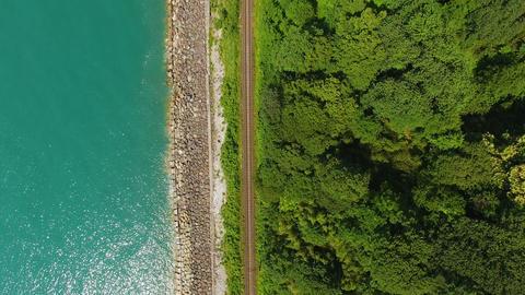 Coastal rail road running between Batumi Botanical Garden and sea, top view Footage