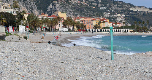 Beautiful Panoramic View Of The City Of Menton And The Mediterranean Sea Footage