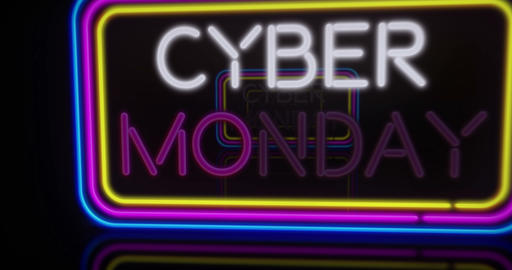 Cyber Monday neon flying Animation