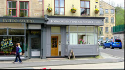 Todmorden / England - May 04 2018 - The town Todmorden means in German death Footage