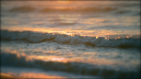 Beautiful soft focus on surface of sea ocean wave with white foam with the rays Footage