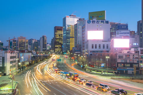 Traffic with cityscape skyline in Seoul city, South Korea Photo