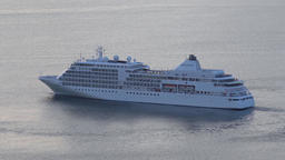 White Expedition Cruise Liner Silver Shadow maneuvers in Pacific Ocean Footage