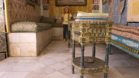 Sousse, Tunisia - June 15, 2018: girl visitor in Art... Stock Video Footage