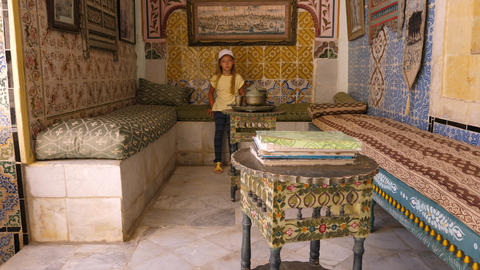 Sousse, Tunisia - June 15, 2018: girl visitor in Art Museum, located in palace Footage