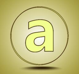 Letter A lowercase, round golden icon on light golden gradient background Vector