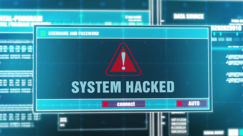 01. System Hacked Warning Notification on Digital System Security Alert on Live Action