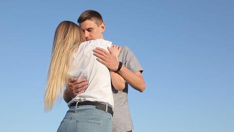 Loving guy and girl hugging 영상물