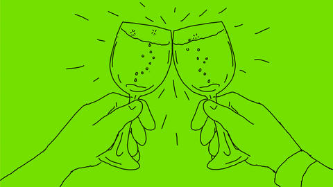 Hands With Wine Glass Toasting Drawing 2D Animation Animation