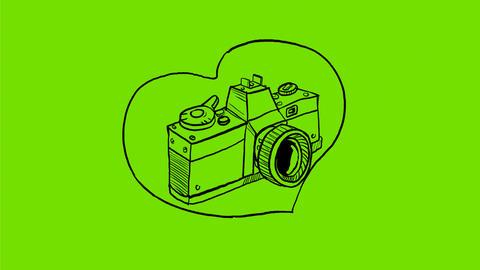 Vintage 35mm SLR Camera Heart Drawing 2D Animation Animation