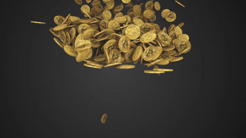 falling bitcoins fills the screen Animation