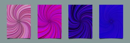 Abstract hypnotic spiral burst stripe brochure background template set ベクター