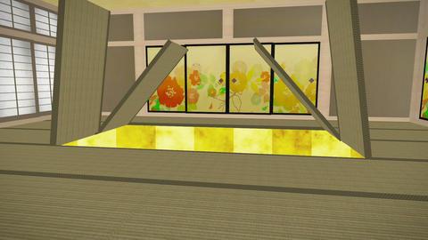畳が開いて豪華背景 Animation