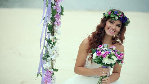 Happy Bride Considering The Bridal Bouquet stock footage