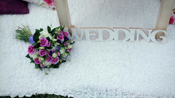 Flower Decorations on the Wedding Tables Footage