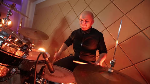 Man Playing Drums Wide Green Light Footage