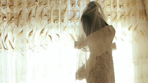 Beautiful Wedding Dresses on Mannequin In Hotel Apartments Live Action