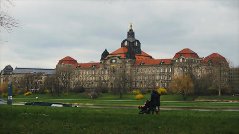 Skyline Of Dresden Germany Shortly After Sunrise stock footage