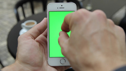 Smart Phone Held by Hand. Green screen Chroma Key Tracking Motion Vertical. Pers Footage