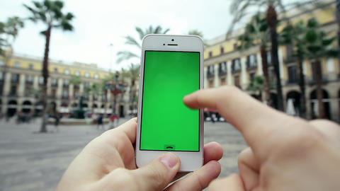 Using Mobile Cell Phone App Against Palm Trees Footage