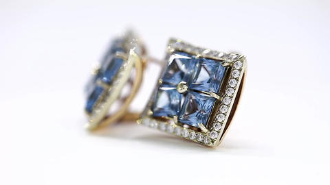 Beautiful Blue Topaz, Turntable White Gold Earring Footage