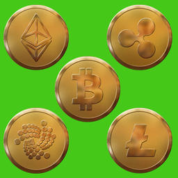 Ethereum, Xrp, Bitcoin, Iota, Litecoin isolated on green background フォト