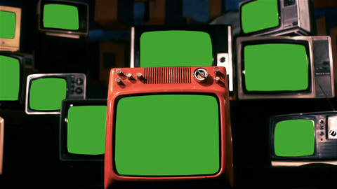 Many Old Tvs With Green Screen. Blue Steel Tone. Zoom In Live Action