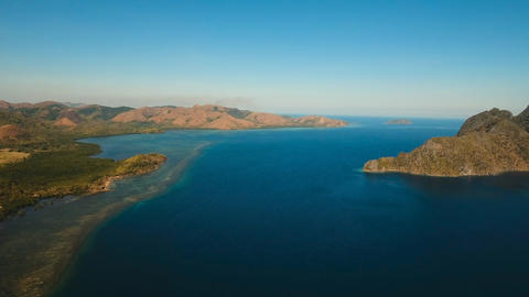 Aerial view tropical lagoon,sea, beach. Tropical island. Busuanga, Palawan Photo